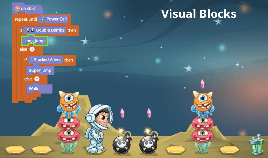 """Los participantes utilizarán código visual """"CoBlocks"""" para animar los actores y personajes del video juego junto a todas sus animaciones."""